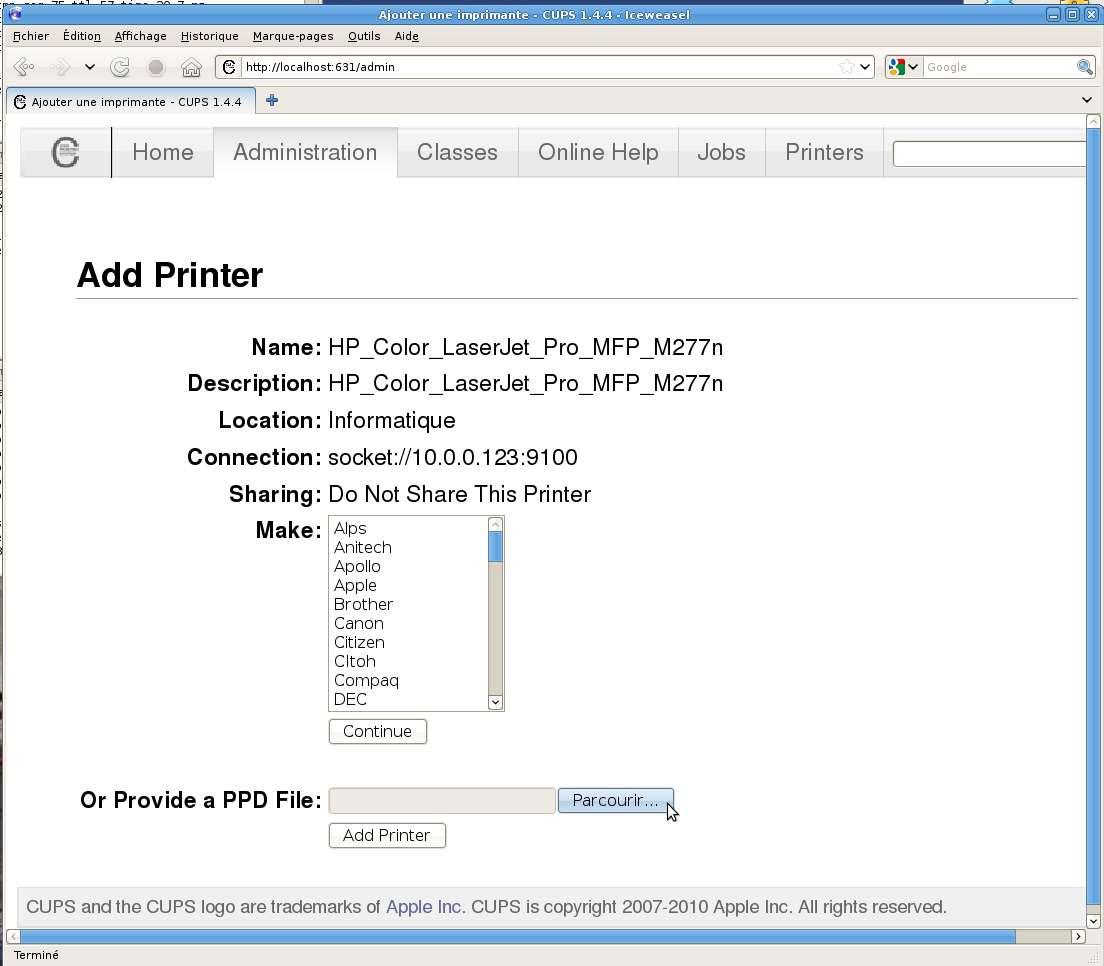 Installer l'imprimante HP Color LaserJet Pro MFP M277n en réseau dans CUPS 1.4.4 ou ultérieur